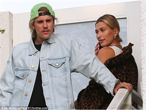 Hailey Baldwin look stunning in chic leopard jacket as she out to dinner with fiance Justin Bieber
